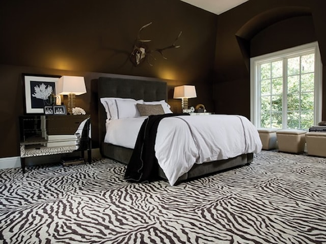 Zebra carpeting print in a bedroom