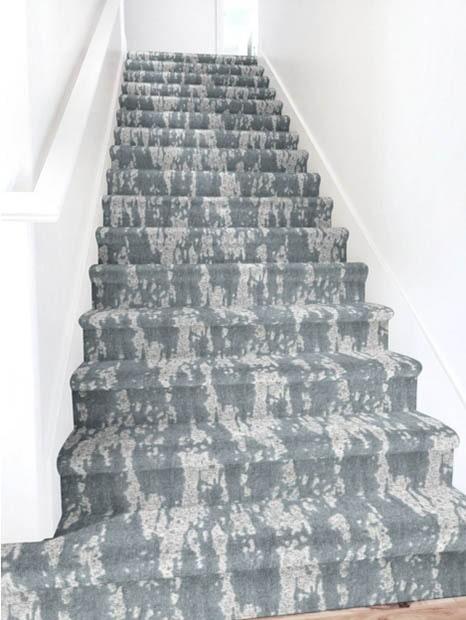 Slate grey stair runner with light grey