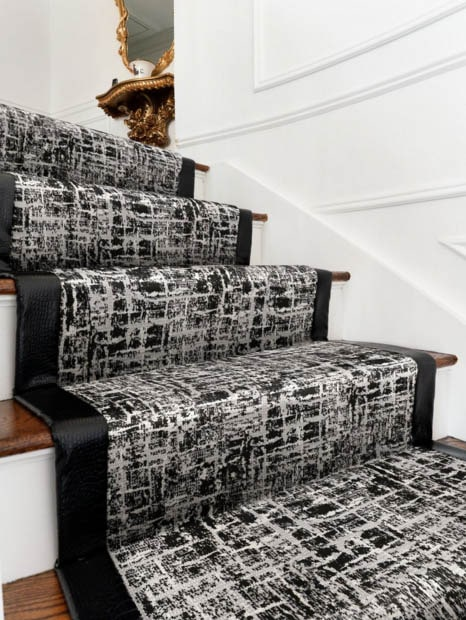 Black stair runner with white lines