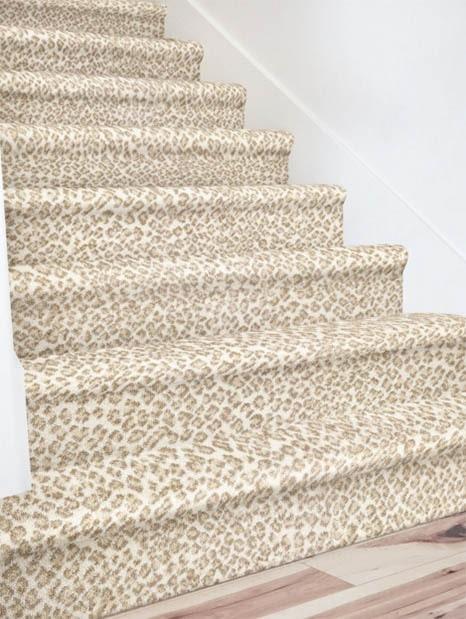 White cheetah print carpet stair runner