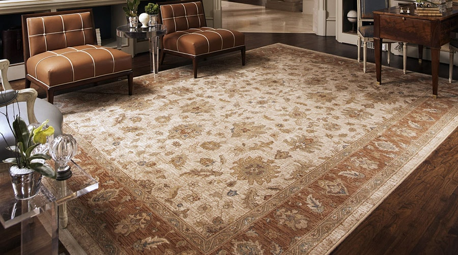 Brown rug with light brown paisley pattern