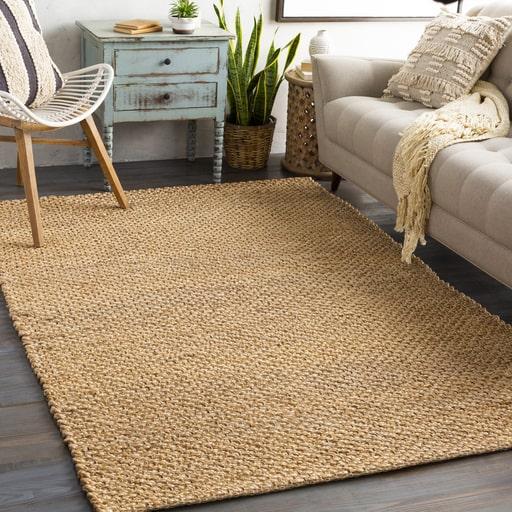 Brown sisal rug in living room